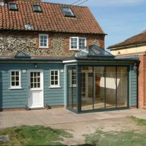 Another nicely crafted addition. I offered this as an alternative to a typical conservatory. Modern rooflights and sliding stacking doors makes a set of really special and useful rooms rooms, inspiring the client to remodel his  connecting kitchen. A great result.